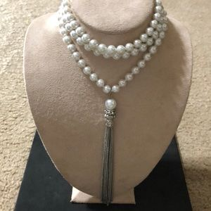 Bling Tassel Pendant On Extra Long Pearl Necklace